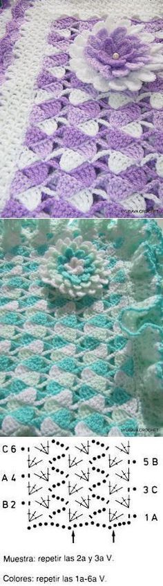 Crochet Baby Blanket Pink And Crochet Afgans, Baby Afghan Crochet, Crochet Coat, Crochet Stitches, Knitting Patterns, Crochet Patterns, Rainbow Crochet, Crochet Diagram, Crochet Flowers