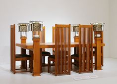 Frank Lloyd Wright, dining table and six side chairs, designed for the Robie House Outdoor Dining Furniture, Modern Furniture, Furniture Design, Dining Table, Hall Furniture, Deco Furniture, Fine Furniture, Antique Furniture, Furniture Ideas