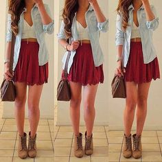 Jean button up with a skirt. Could almost get away with something like this at work!