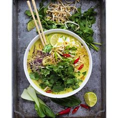 Spicy Laksa Noodle Soup With Spicy Coconut Broth.Get this and 20+ more Southeast Asian Cuisine recipes at https://feedfeed.info/southeast-asian-cuisine