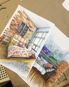 33 Best Ideas Furniture Sketch Design Sketchbooks - Image 4 of 23 Sketchbook Architecture, Interior Architecture Drawing, Interior Design Renderings, Drawing Interior, Interior Rendering, Interior Sketch, Classical Architecture, Drawing Furniture, Furniture Design