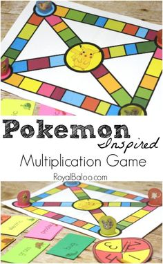 Free Pokemon Multiplication Game inspired by Pokemon! What a fun way for elementary children to work on math this summer! Math Activities For Kids, Math For Kids, Math Resources, Math Worksheets, Math Board Games, Homework Games, Third Grade Math, Grade 3, Homeschool Math