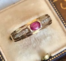 Excited to share this item from my shop: Vintage Gold Ruby and Diamond Ring UK size Q or US size 8 Antique Rings, Vintage Rings, Antique Jewelry, Vintage Jewelry, Ruby Jewelry, Jewelry Gifts, Fine Jewelry, Gold Jewelry, Gold Plated Rings