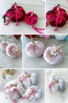 Velvet Pumpkins, Fabric Pumpkins, Painted Pumpkins, Fall Pumpkins, Halloween Ornaments, Halloween Home Decor, Halloween Halloween, Festive Crafts, Easy Fall Crafts