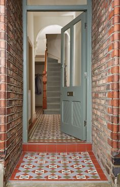 Bespoke Pattern, Victorian Floor Tiles by Original Style This popular and versatile range of plain colours and decorated tiles. Victorian Floor Tiles can be used for paths, patios and porches as well as hallways, kitchens, bathrooms and conservatories. Victorian Hallway, Victorian Front Doors, Victorian Tiles, Victorian Terrace, Victorian House, Tiled Hallway, Hallway Flooring, Tile Entryway, Outside Flooring