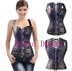 f76bf2df1f3 Sexy Steam Punk Wasit Steampunk Black Lace up Zip Faux Leather Gothic Soft  Bustiers PVC Overbust Corset Top Plus Size S-6XL