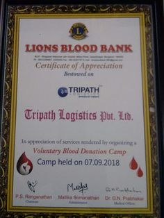 """""""The gift of blood is the gift of life"""" We are happy to inform that our #tripath team have donated blood to Voluntary Blood Donation Camp Organized by """"Lions Blood Bank"""" held on 07-09-2018"""
