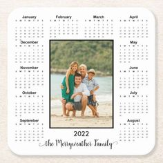 2022 Add Your Photo Magnetic Calendar Square Paper Coaster Full Year Calendar, Family Calendar, Photo Calendar, Magnetic Calendar, Small Gifts For Friends, 11. September, Glass Coasters, Modern Family, Office Gifts
