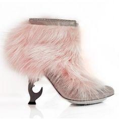 Pink fur. PINK fur. #ankleboots #anastasiaradevich