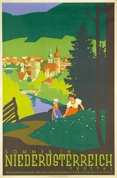Sommer in Niederösterreich (Summer in Lower Austria), Vintage Ski, Vintage Travel Posters, Tarzan, Harry Potter Poster, Poster City, Tourism Poster, Ski Posters, Austria Travel, Art Graphique