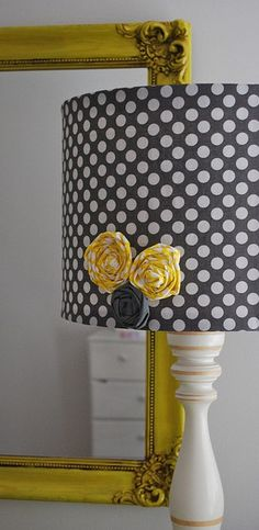 I love the lamp shade.maybe a little girls room.hot pink polka dots on a turquoise lamp with lime green and purple flowers :) Refurbished Lamps, Sweet Home, Mellow Yellow, Grey Yellow, Gray, Lamp Shades, My New Room, Home Interior, Home Projects