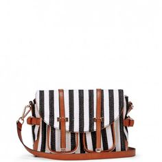 Stripe canvas messengers - Gabi - Black » I'm a sucker for a striped bag, this one is great!