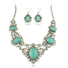 Vintage Turquoise Necklace Set Imitation Europe carved Thai silver jewelry set AliExpress selling S049