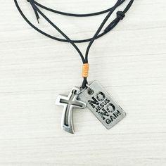 Colar Cordão Pingentes Crucifixo Plaquinha No Jesus No Gain ( Sem Jesus Sem Ganho) Mateus 6:31-33
