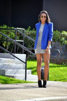 Honey In My Heels: Checkered Blue #fashion #streetstyle #blogger #ootd