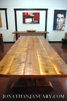 Items similar to Reclaimed Timber-Frame Trestle Table, Farm Table -- Custom Item on Etsy Timber Furniture, Recycled Furniture, Cool Furniture, Rustic Table, Farmhouse Table, Small Woodworking Projects, Wood Projects, Reclaimed Timber, Dining Room Table