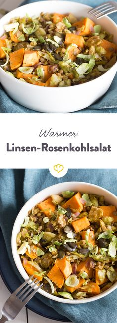 Dieser warme Salat sorgt für Wohlbefinden an ungemütlichen Wintertagen. Durch Süßkartoffeln und Linsen erhält das Wintergemüse Rosenkohl den nötigen Pfiff.