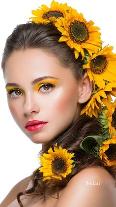 Color Photography, Beauty Photography, Glam Photoshoot, Floral Headdress, Sunflower Art, Sunflower Fields, Girls With Flowers, Floral Fashion, Creative Makeup