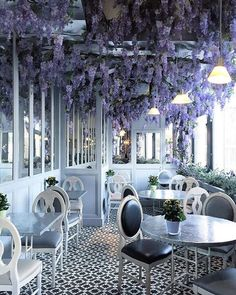 Dreamy outdoor patio at Aubaine cafe in Selfridges on Oxford St, in London.