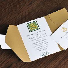 Elegant gold and green pocket wedding invitations Yellow Wedding Invitations, Wedding Invitations Online, Classic Wedding Invitations, Wedding Invitation Wording, Wedding Stationery, Custom Invitations, Pocket Invitation, Invitation Suite, Invite