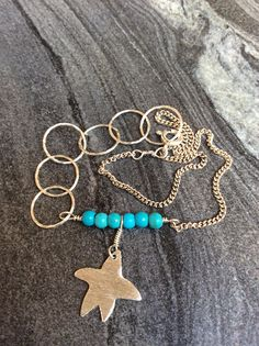 Turquoise anklet sterling silver anklet starfish anklet