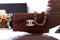 Chanel iphone 5g/5s leather case-monogram Tri fold brown Free Shipping - Deluxeiphonecase.com