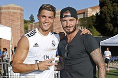 Two Real Madrid legends of the present and recent past, Cristiano Ronaldo and David Beckham, met up as the Spanish giants opened their pre-season tour of the United States with a training session at the UCLA campus in Los Angeles