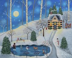 Browse through images in Mary Charles' Mary Charles--Folk Art collection. A collection of folk art by Pennsylvania artist, Mary Charles Christmas Art, Winter Christmas, Christmas Paintings, Vintage Christmas, Folk, Primitive Painting, Thing 1, Affinity Designer, Winter Art