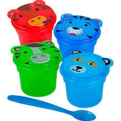 Meal time just got a lot more fun, and a whole lot easier to take on the go! Plastic snack containers have adorable animal-shaped lids and are ideal for taking snacks like cereal, appl Animals For Kids, Cute Animals, Snack Containers, Banana Chips, Plastic Spoons, Living On A Budget, Dollar Tree Store, Busy Bags, Shoe Box