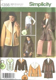 Simplicity Sewing Pattern 4356 Misses Size 6-14 Shearling Coat Jacket Vest Bag Purse...
