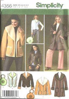 Simplicity Sewing Pattern 4356 Misses Size 6-14 Shearling Coat Jacket Vest Bag Purse...