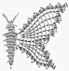 confira o gráfico para fazer vestido de crochê borboleta