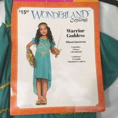Warrior Goddess Girls Costume Size L 10/12 Turquoise Renaissance Halloween Gown | eBay