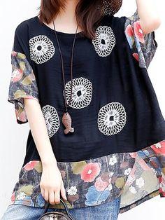 Folk Style Print Patchwork Bat Sleeve O-neck T-shirt For Women