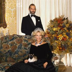 Prince and Princess Michael of Kent with their siamese cat