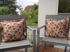 Endlich sind die Kissenbezüge für meine Mama fertig! Sie werden jetzt ihre Terrasse verschönern.