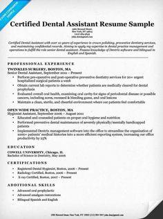 dentist resume template Dental Resume Examples & Writing Tips Nursing Resume Examples, Sales Resume Examples, Resume Objective Examples, Resume Tips, Dental Assistant Job Description, Dental Assistant Cover Letter, Dental Assistant Study, Dental Hygiene, Job Resume Samples