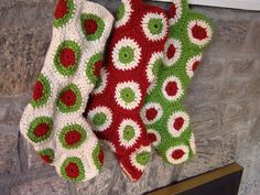 Crocheted Christmas stockings.These are so cool! @Diane Tenny  These look perfect for me to make for the cats' stockings.