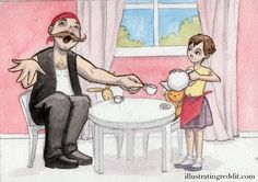 """""""I'm a fairly large guy that did some body building & mma for a little over the last decade. I ride a blacked out Harley & have worked in construction most of my adult life. Now I play with pink teddy bears & dolls.""""    Everybody loves a tea party!"""