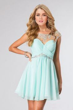 2015 Hot Selling Beaded Neckline And Waistline Bateau Homecoming Dresses Short/Mini Chiffon&Tulle