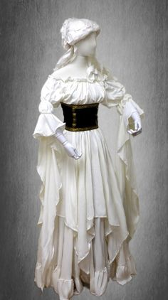 Renaissance Medieval Peasant Pirate Fairy Sorceress Cuff 2-piece Cream Dress