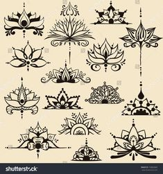 Fifteen freehand drawings of lotus flowers in east style. Can be used as a logo, for backgrounds, business style, tattoo templates, cards design or el. Lotus Kunst, Lotus Art, Lotus Henna, Henna Designs, Designs To Draw, Flower Designs, Tattoo Designs, Lotus Drawing, Lotus Flower Drawings