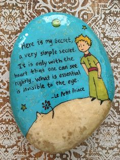 the little prince stone painting rock painting art Stone Painting, Rock Painting, Art Projects, Projects To Try, Pebble Art Family, Painting Quotes, Caillou, The Little Prince, Canvases