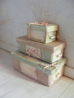 Dolls house shabby chic boxes12th scale by shabbychicminis on Etsy, $35.00