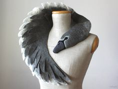 Ugly Duckling - Grey Swan (dark version) - felted wool animal scarf, stole…