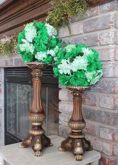 st patricks day kissing balls (easy to make with Dollar Tree flowers and styrofoam balls)