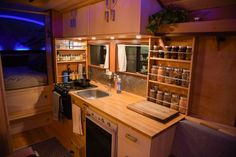 86 International School Bus Conversion By Kyle Volkman I like the kitchen organization.
