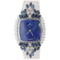 Magnificent Ladies Wristwatch, OMEGA 18 Karat white Gold with Diamonds and Sapphires of top quality. Cartier, Saphir Rose, G Shock Watches, Seiko Watches, Omega Seamaster, Beautiful Watches, Elegant Watches, Luxury Watches For Men, Watch Brands