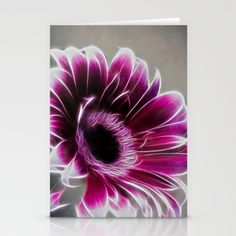 Gerbera Fractalius Stationery Cards by F Photography and Digital Art - $12.00