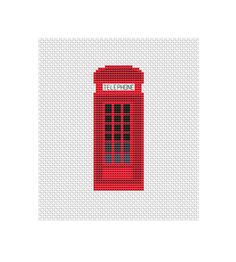 Cross stitch pattern London phone booth Red by StitcheryStitch